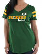 "Green Bay Packers Women's Majestic NFL ""Day Game"" V-neck Fashion Top Shirt"