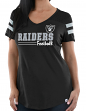 """Oakland Raiders Women's Majestic NFL """"Day Game"""" V-neck Fashion Top Shirt"""