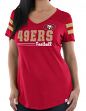 "San Francisco 49ers Women's Majestic NFL ""Day Game"" V-neck Fashion Top Shirt"