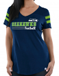 "Seattle Seahawks Women's Majestic NFL ""Day Game"" V-neck Fashion Top Shirt"