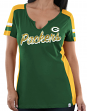 Green Bay Packers Women's Majestic NFL Pride Playing 2 V-notch Fashion Top Shirt
