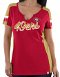 "San Francisco 49ers Women's Majestic NFL ""Pride Playing 2"" V-notch Fashion Shirt"
