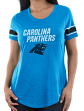 "Carolina Panthers Women's Majestic NFL ""Tailgate"" Scoop Neck Fashion Top Shirt"