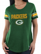 """Green Bay Packers Women's Majestic NFL """"Tailgate"""" Scoop Neck Fashion Top Shirt"""