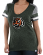 Cincinnati Bengals Women's Majestic NFL Classic Moment V-neck Fashion Top Shirt