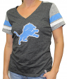 "Detroit Lions Women's Majestic NFL ""Classic Moment"" V-neck Fashion Top Shirt"