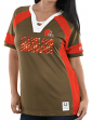 """Cleveland Browns Women's Majestic NFL """"Draft Me 3"""" Jersey Top Shirt - Brown"""