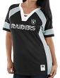 "Oakland Raiders Women's Majestic NFL ""Draft Me 3"" Jersey Top Shirt - Black"