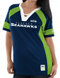 "Seattle Seahawks Women's Majestic NFL ""Draft Me 3"" Jersey Top Shirt - Navy"