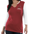 "Arizona Cardinals Women's Majestic NFL ""Game Legend"" 3/4 Sleeve V-Notch Shirt"