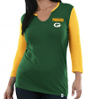 "Green Bay Packers Women's Majestic NFL ""Game Legend"" 3/4 Sleeve V-Notch Shirt"