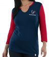 "Houston Texans Women's Majestic NFL ""Game Legend"" 3/4 Sleeve V-Notch Shirt"