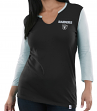 "Oakland Raiders Women's Majestic NFL ""Game Legend"" 3/4 Sleeve V-Notch Shirt"