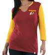 "Washington Redskins Women's Majestic NFL ""Game Legend"" 3/4 Sleeve V-Notch Shirt"