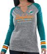 "Miami Dolphins Women's Majestic NFL ""Lead Play 3"" Long Sleeve Raglan Shirt"