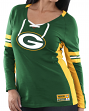"""Green Bay Packers Women's Majestic NFL """"Winning Style 2"""" Long Sleeve V-neck Top"""