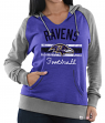 "Baltimore Ravens Women's Majestic NFL ""Buttonhook"" Pullover Hooded Sweatshirt"