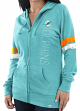 "Miami Dolphins Women's Majestic NFL ""Tradition"" Full Zip Hooded Sweatshirt"