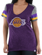 "Los Angeles Lakers Women's Majestic NBA ""All My Hearts"" V-neck Fashion Top"