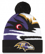 "Baltimore Ravens New Era NFL ""Logo Whiz 3"" Cuffed Knit Hat with Pom"
