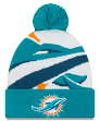 "Miami Dolphins New Era NFL ""Logo Whiz 3"" Cuffed Knit Hat with Pom"