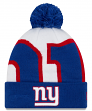 "New York Giants New Era NFL ""Logo Whiz 3"" Cuffed Knit Hat with Pom"