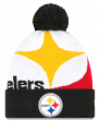 "Pittsburgh Steelers New Era NFL ""Logo Whiz 3"" Cuffed Knit Hat with Pom"