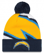 "Los Angeles Chargers New Era NFL ""Logo Whiz 3"" Cuffed Knit Hat with Pom"