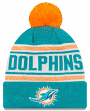 "Miami Dolphins New Era NFL ""Toasty Cover"" Cuffed Knit Hat with Pom"