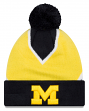 "Michigan Wolverines New Era NCAA ""Logo Whiz 3"" Cuffed Knit Hat with Pom"