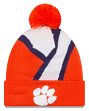 "Clemson Tigers New Era NCAA ""Logo Whiz 3"" Cuffed Knit Hat with Pom"