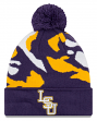 "LSU Tigers New Era NCAA ""Logo Whiz 3"" Cuffed Knit Hat with Pom"