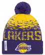 "Los Angeles Lakers New Era NBA ""Sport Knit Flect"" Cuffed Hat with Pom"