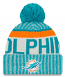 Miami Dolphins New Era 2017 NFL Sideline On Field Sport Knit Hat - Aqua