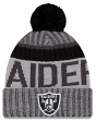 "Oakland Raiders New Era 2017 NFL ""Sport Knit"" Cuffed Hat with Pom - Graphite"