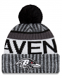 "Baltimore Ravens New Era 2017 NFL ""Sport Knit"" Cuffed Hat with Pom - Black"