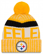 "Pittsburgh Steelers New Era 2017 NFL ""Sport Knit"" Cuffed Hat with Pom - Reverse"