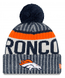 "Denver Broncos New Era 2017 NFL ""Sport Knit"" Cuffed Hat with Pom - Reverse"
