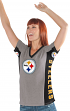 "Pittsburgh Steelers Women's G-III NFL ""#1 Fan"" V-neck Cap Sleeve T-shirt"