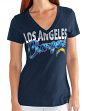 """Los Angeles Chargers Women's G-III NFL """"First Down"""" V-neck Cap Sleeve T-shirt"""