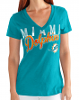 """Miami Dolphins Women's G-III NFL """"First Down"""" V-neck Cap Sleeve T-shirt"""