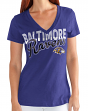 "Baltimore Ravens Women's G-III NFL ""First Down"" V-neck Cap Sleeve T-shirt"