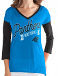 "Carolina Panthers Women's G-III NFL ""Airtime"" Dual Blend 3/4 Sleeve T-shirt"