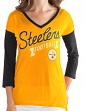"Pittsburgh Steelers Women's G-III NFL ""Airtime"" Dual Blend 3/4 Sleeve T-shirt"