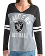 "Oakland Raiders NFL Women's G-III ""Goal Line"" Long Sleeve V-Neck T-shirt"