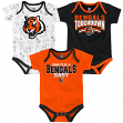 "Cincinnati Bengals NFL ""Playmaker"" Infant 3 Pack Bodysuit Creeper Set"
