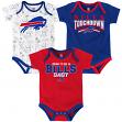 "Buffalo Bills NFL ""Playmaker"" Infant 3 Pack Bodysuit Creeper Set"