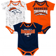 "Denver Broncos NFL ""Playmaker"" Infant 3 Pack Bodysuit Creeper Set"