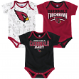 "Arizona Cardinals NFL ""Playmaker"" Infant 3 Pack Bodysuit Creeper Set"