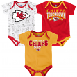 "Kansas City Chiefs NFL ""Playmaker"" Infant 3 Pack Bodysuit Creeper Set"